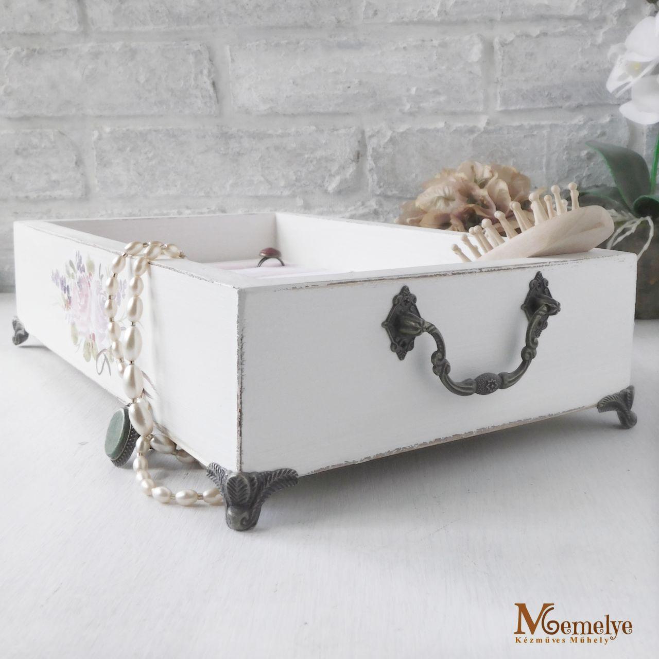 Ékszertartó tálca antik fehér