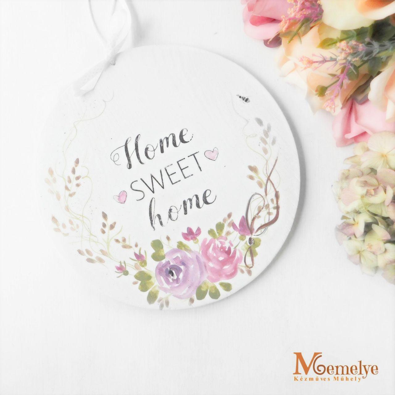 Sweet Home rózsás ajtótábla