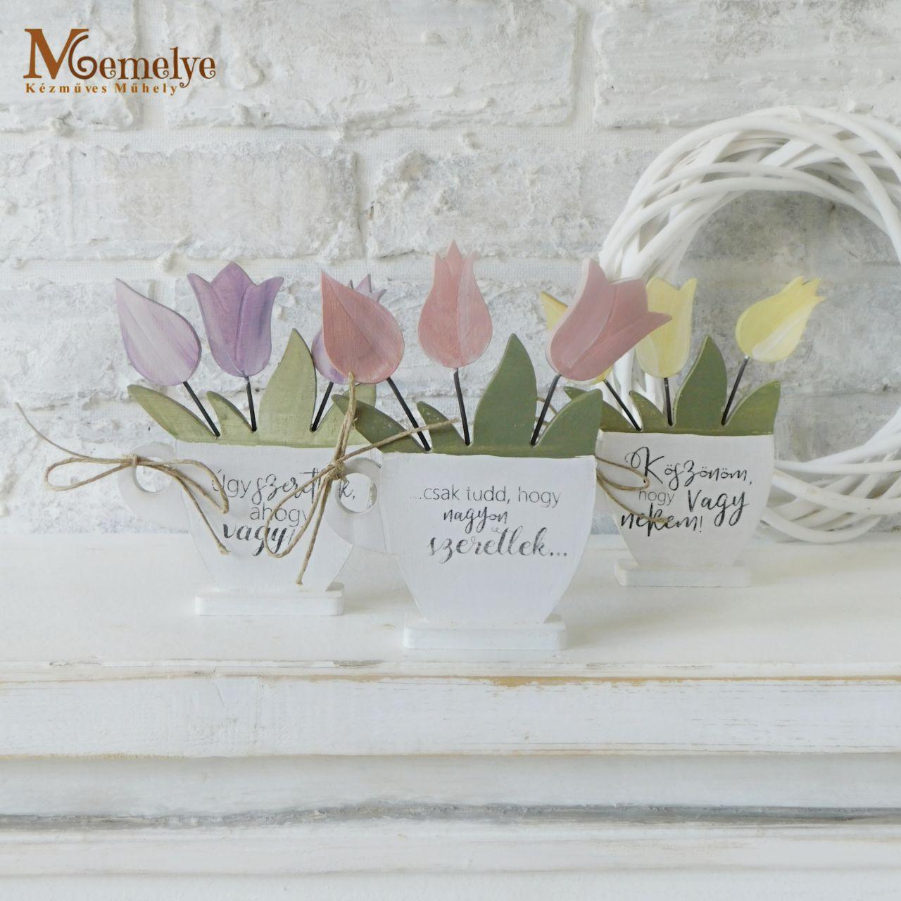 Fa tulipán választható felirattal és színnel